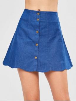 Fall and Summer Button Solid A-Line Mini Daily Leisure Snap Button Scalloped Skirt