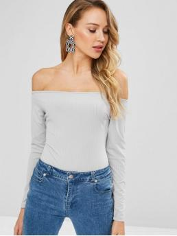 No Fall and Spring Solid Elastic Long Off Fashion Going Zaful Ribbed Off Shoulder Bodysuit