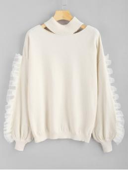 Voile Panel Ruffles Cut Out Sweater