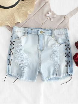 Autumn and Spring and Summer No Frayed and Lace Solid Flat Zipper Mid Regular Fashion Destroyed Lace Up Denim Shorts