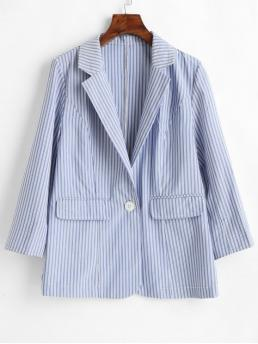 Fall and Spring Front Striped Nonelastic Single Nine Lapel Regular Regular Casual Single Button Striped Blazer
