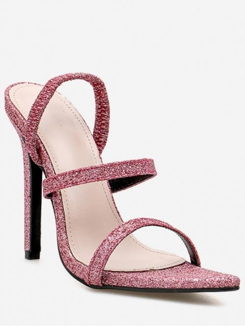 Summer PU 11cm Rubber Others Elastic Stiletto Slides Club and Dress Fashion For Stiletto Heel Pointed Toe Glitter Sandals