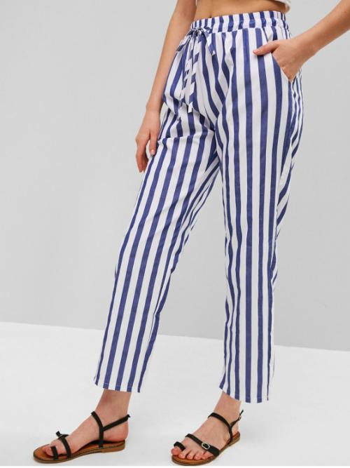 Summer Drawstring Straight Striped Regular High Casual Two Tone Striped Drawstring Pants