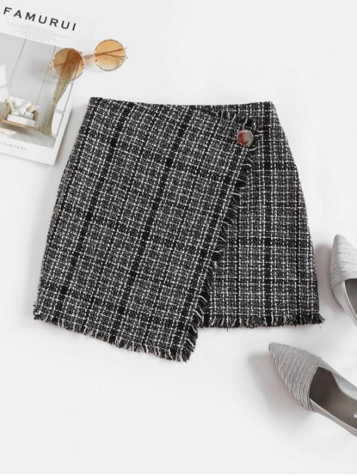 No Nonelastic Fall and Spring Zipper Button Checkered A-Line Mini Daily and Going Elegant Tweed Faux Wrap Skirt