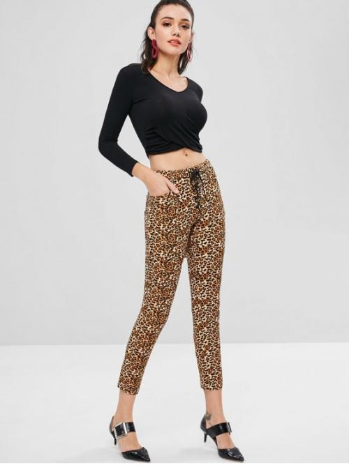 Fall and Spring and Winter Button Pencil Animal Skinny Mid Fashion Pockets Lace Up Leopard Print Skinny Pants