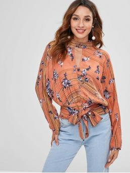 Autumn and Spring Backless Flower Full Batwing Regular High Fashion Daily and Outdoor Floral Keyhole Backless Knot Blouse