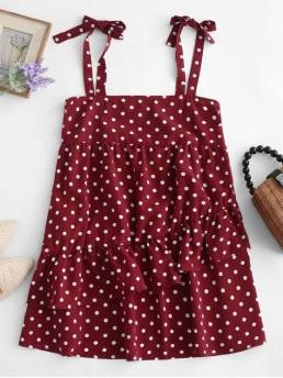 No Summer Nonelastic Polka Sleeveless Straps Mini A-Line Casual and Day Fashion Tied Straps Polka Dot Layered Mini Dress