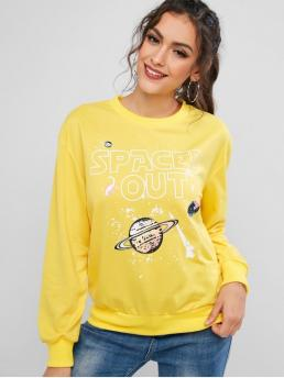 Autumn Letter Full Regular Drop Round Sweatshirt Planet Spaced Out Graphic Funny Ribbed Trim Sweatshirt