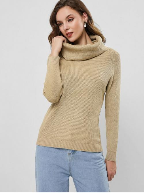 Autumn and Winter Solid Elastic Full Raglan Cowl Regular Regular Fashion Daily and Going Pullovers Raglan Sleeve Cowl Neck Knit Sweater