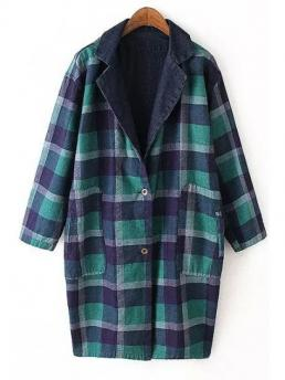 Fashion Pockets Plaid Turn-down Full Wide-waisted Trench Plaid Reversible Turn-Down Collar Trench Coat
