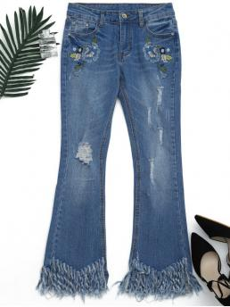 Zipper Mid Skinny Normal Bleach Denim Flare Distressed Embroidered Cutoffs Flared Jeans