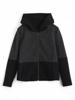 Patchwork Hooded Full Wide-waisted Fashion Jackets Zip Up Hooded Jacket with Fuzzy Ball