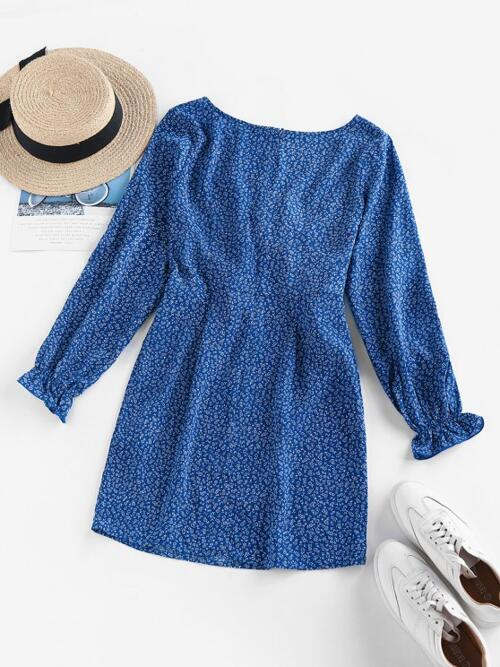 Blue Floral Poet Sleeve Long Sleeves Ditsy Print Ruffle Cutout Plunging Dress Clearance