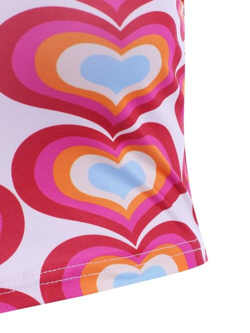Pretty Polyester,polyurethane Heart Red Cute Halter Colorful Tank Top