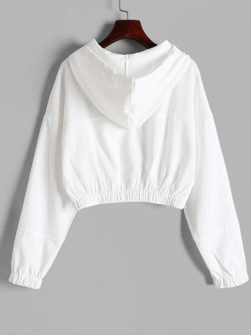 Long Sleeves Wide-waisted Cotton,polyester Solid Drawstring Hooded-down Cropped Corduroy Jacket Pretty