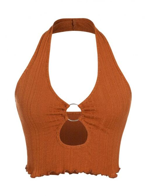 Polyamide,polyester,rayon Solid Color Coffee Sexy Ring Cutout Lettuce Knit Halter Top Trending now