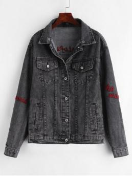 No Autumn and Spring Patch Letter Shirt Full Regular Slim Fashion Jackets Daily and Going Button Up Letter Patches Denim Jacket