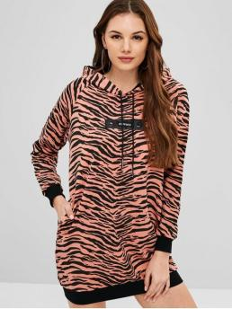 No Fall and Spring and Winter Striped Long Hooded Mini Straight Day Casual Side Pockets Zebra Print Hoodie Dress