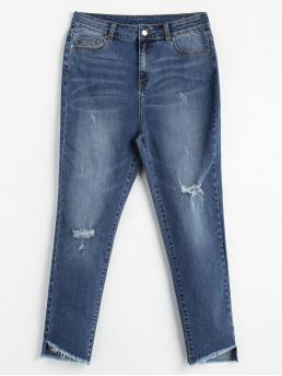 Fall and Spring Ripped Regular Ninth Medium Casual Distressed High Waisted Mom Jeans