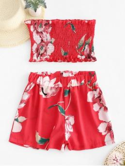 No Summer Floral Flat Elastic High Nonelastic Sleeveless Strapless Regular Fashion Beach Smocked Floral Bandeau Top And Shorts Set