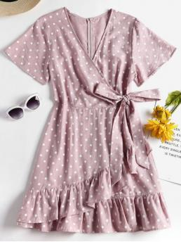 Summer No Polka Ruffles Short V-Collar Mini Casual and Going Knotted Ruffles Polka Dot Dress