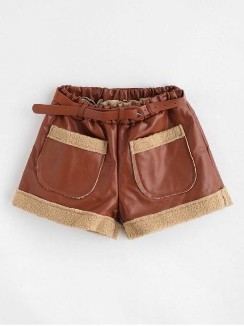 Autumn and Winter Yes Pockets Others Flat Elastic High Loose Fashion Belted Faux Leather Pocket Shorts