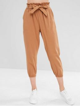 Fall and Spring and Winter Yes Elastic Jogger Solid Regular High Casual High Waist Jogger Pants with Belt