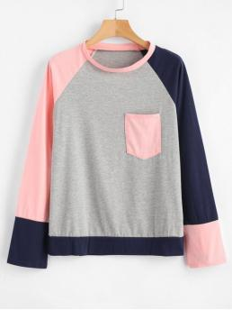 Autumn Others Full Round Casual Color Block Pocket Raglan Sleeve T-shirt