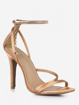 Synthetic 10CM Rubber Chains Heart Buckle Stiletto Ankle Party Fashion For Chain Design Cut High Heel Sandals