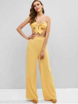 No Summer Solid Flat Elastic High Sleeveless Bandeau Regular Fashion Daily and Going Knotted Bandeau Top and Palazzo Pants Set