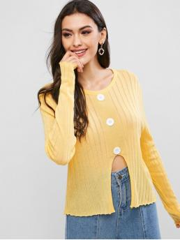 Full Sleeve Pullovers Cotton,polyester Solid Mocks Front Notched Hem Crew Neck Sweater on Sale