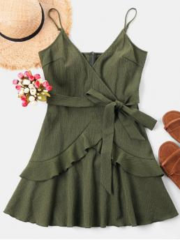 Yes Spring and Summer Solid Sleeveless Spaghetti Mini A-Line Day and Night Fashion Ruffle Mini Cami Dress