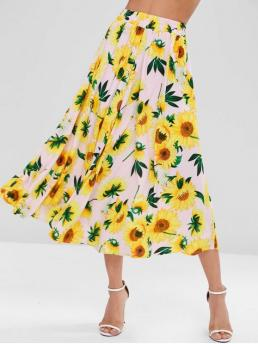 Fall and Spring Elastic Floral A-Line Ankle-Length Daily and Going Elegant Sunflower Print Maxi Full Skirt