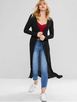 Autumn and Spring Elastic Full Collarless Long Loose Fashion Daily and Going Cardigans Collarless Longline Knit Cardigan
