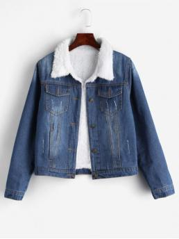 Nonelastic Autumn and Spring and Winter Frayed and Front Solid Single Shirt Full Regular Wide-waisted Casual Jackets Daily Fuzzy Lining Denim Jacket