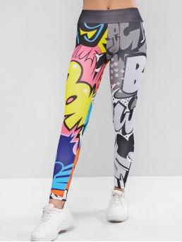 Fall and Spring 7/8 Letter Elastic High Daily Casual Letter Graphic Elastic Waist Skinny Leggings