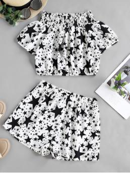 Summer Star Pleated Elastic Mid Short Off Regular Fashion Casual and Daily Star Print Off Shoulder Smocked Frilled Two Piece Set