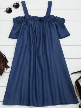 Summer No Solid Patch Short Spaghetti Mini A-Line Denim Causal and Day and Going Casual Ruffles Casual Cold Shoulder Mini Dress