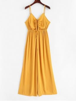 Summer No Solid Nonelastic Sleeveless Spaghetti Normal Regular Fashion Daily and Going Cinched Cami Wide Leg Jumpsuit