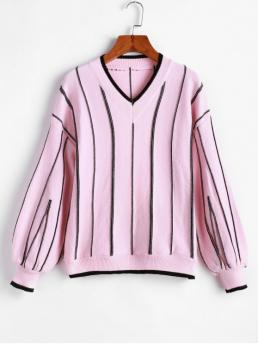 Autumn and Spring and Winter Striped Elastic Full Drop V-Collar Regular Regular Fashion Daily and Going Pullovers Pullover Textured Stripes V Neck Sweater