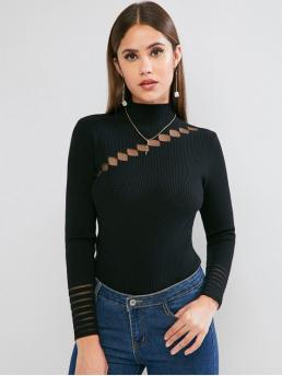 Autumn and Spring Lace Solid Elastic Full Mock Regular Slim Casual Pullovers Lace Insert Mock Neck Ribbed Sweater