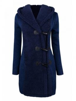 Button and Flocking Solid Hooded Full Slim Fur Fashion Hooded Horn Button Flocking Coat