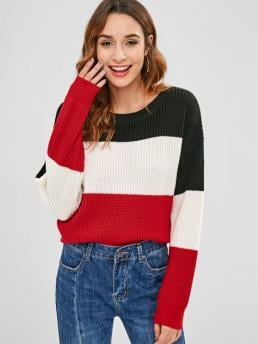 Full Sleeve Pullovers Polyacrylic Striped Color Block Sweater Ladies