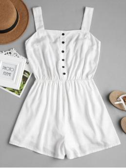 Summer No Button Solid Sleeveless Square Regular Fashion Casual Wide Leg Button Up Romper
