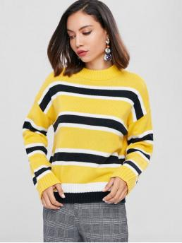 Autumn and Winter Striped Elastic Full Drop Mock Regular Regular Fashion Daily Pullovers Drop Shoulder Striped Mock Neck Sweater