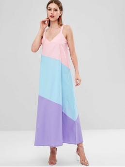No Fall Patchwork Sleeveless V-Collar Mid-Calf A-Line Beach and Casual and Vacation Casual Color Block Sleeveless Mid Calf Dress