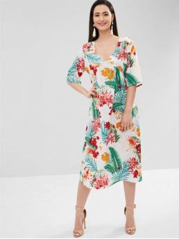 No Fall and Spring Empire Floral and Leaf 3/4 Plunging Mid-Calf A-Line Casual and Vacation Fashion Flower Leaf Plunging Dress