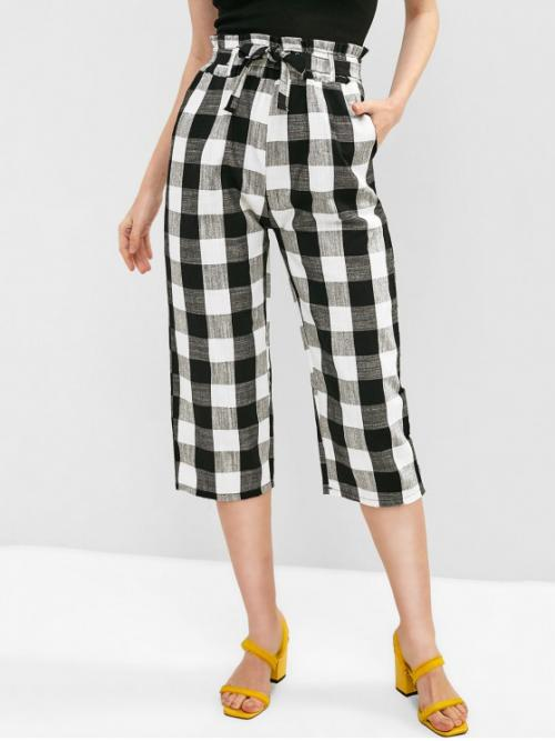 Summer Yes Elastic Wide Plaid Loose High Casual Plaid Belted Capri Pants