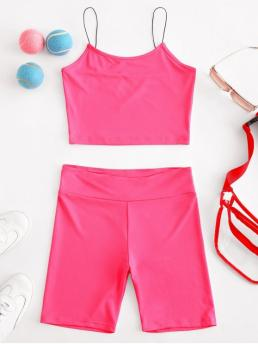 No Summer Solid Flat Elastic High Sleeveless Spaghetti Skinny Active Casual and Daily and Sports Cami High Waisted Skinny Shorts Set