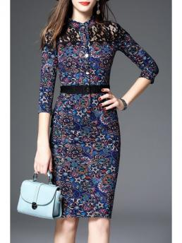 Fall and Spring No Print Lace 3/4 Stand Mid-Calf 100% Sheath Petite Lace Panel Midi Pencil Dress